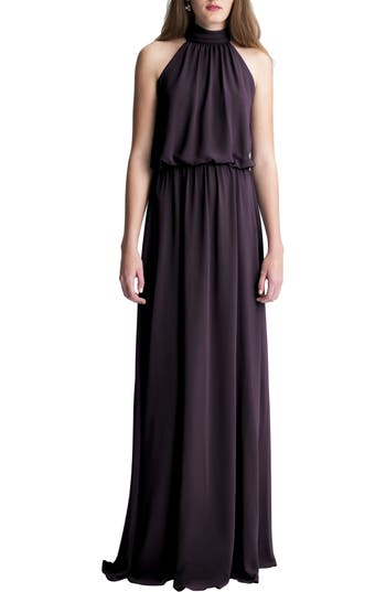 #levkoff High Neck Chiffon A-Line Gown, Purple