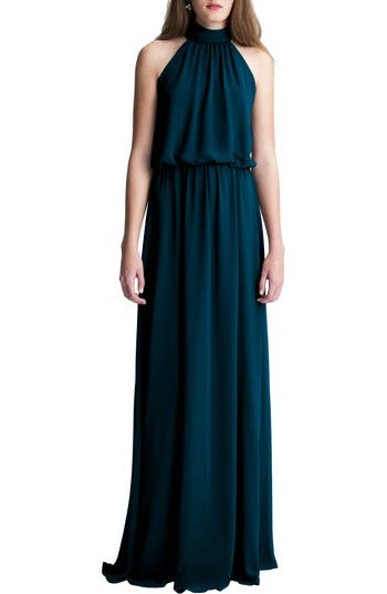 #levkoff High Neck Chiffon A-Line Gown, Blue