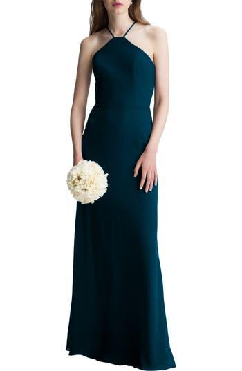 #levkoff High Neck Chiffon A-Line Gown, Blue