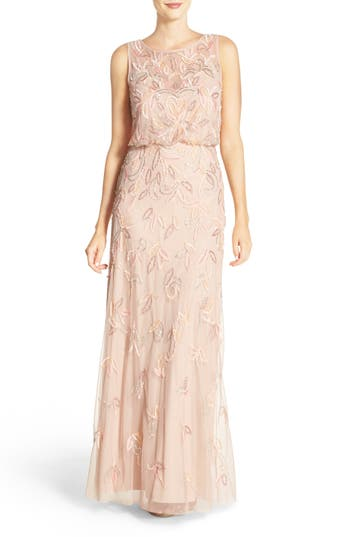 Petite Adrianna Papell Embellished Blouson Gown
