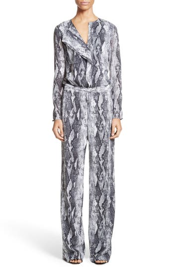 St. John Collection Raja Snakeskin Print Georgette Jumpsuit