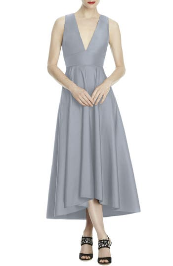 Lela Rose Bridesmaid Mikado High/low Midi Gown, Grey