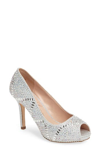 Lauren Lorraine Paula Embellished Peep Toe Pump- Metallic