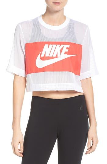Nike Sportswear Mesh Crop Top, White