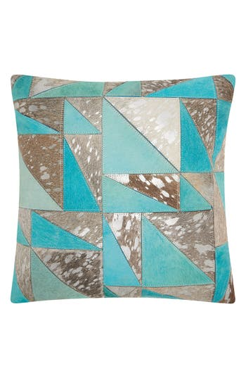 Mina Victory Metallic Calf Hair Accent Pillow, Size One Size - Blue/green