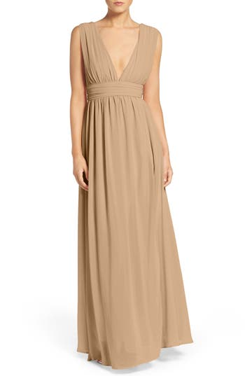 Lulus Plunging V-Neck Chiffon Gown, Beige