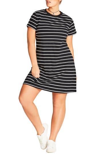 Plus Size City Chic Stripe T-Shirt Dress