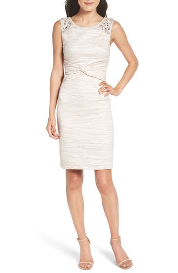 Petite Eliza J Embellished Sheath Dress