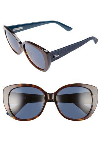 Women's Dior Lady 55Mm Cat Eye Sunglasses - Havana/ Blue