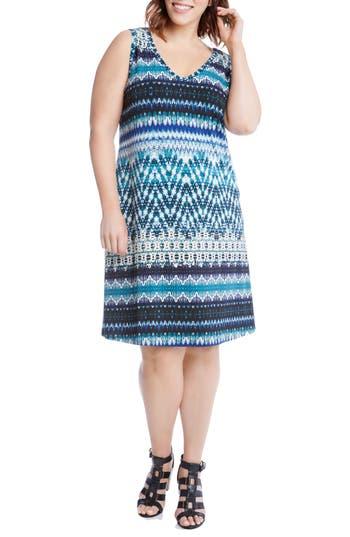 Plus Size Karen Kane Brigitte Batik Stripe Tank Dress, Blue
