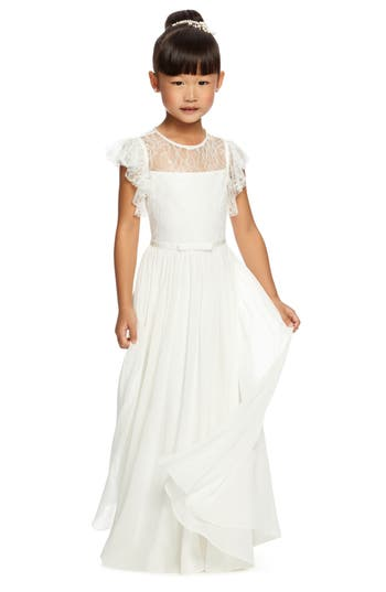 Girl's Dessy Collection Florentine Lace & Chiffon Dress