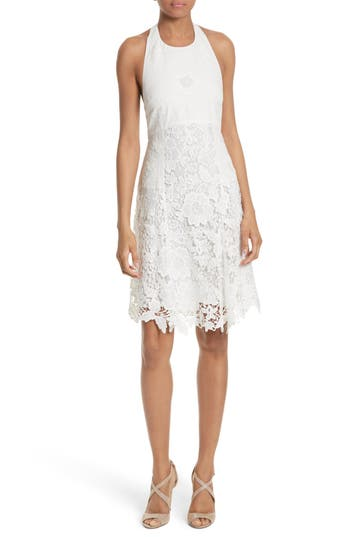 Alice + Olivia Susan Lace Halter Dress, White
