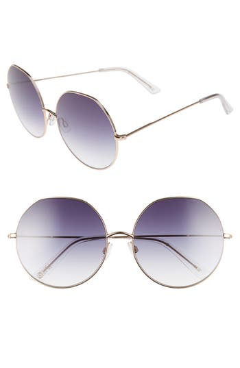 Women's D'Blanc Sonic Boom 62Mm Gradient Round Sunglasses - Polished Gold/ Gradient