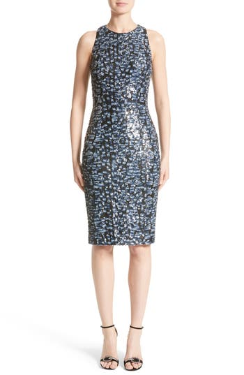 Carmen Marc Valvo Couture Sequin Sheath Dress