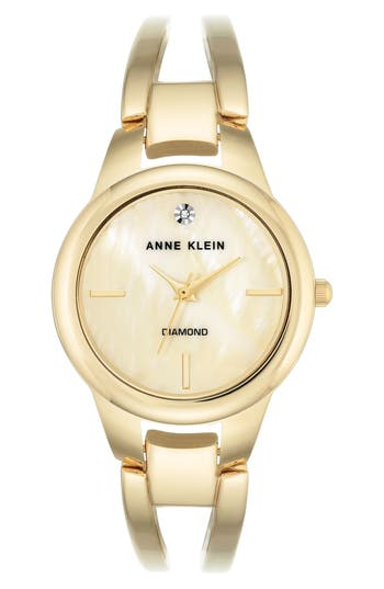 Women's Anne Klein Diamond Oval Bangle Watch, 32Mm