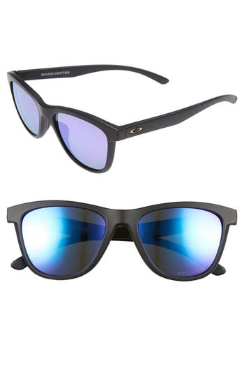 Oakley Moonlighter 5m Polarized Sunglasses - Matte Black/ Violet Iridium P