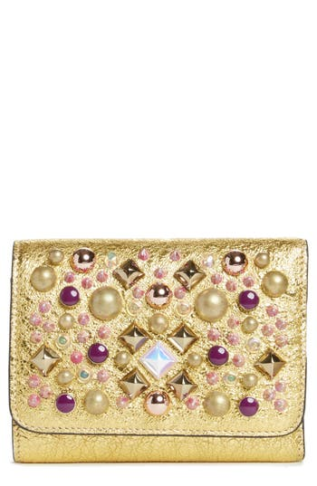 Women's Christian Louboutin Spiked Leather French Wallet -