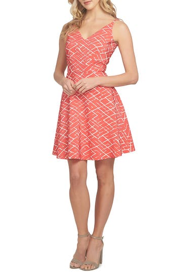 Cece Miley Print Fit & Flare Dress