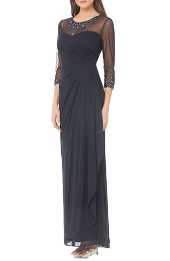 Js Collections Embellished Illusion Gown
