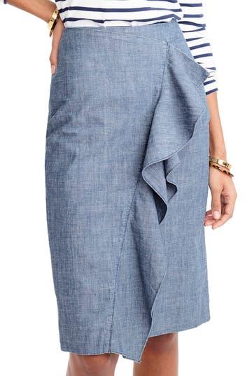 Women's J.crew Chambray Ruffle Skirt