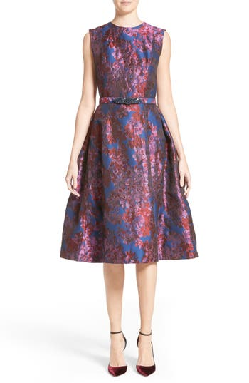 Badgley Mischka Couture Floral Jacquard Fit & Flare Dress