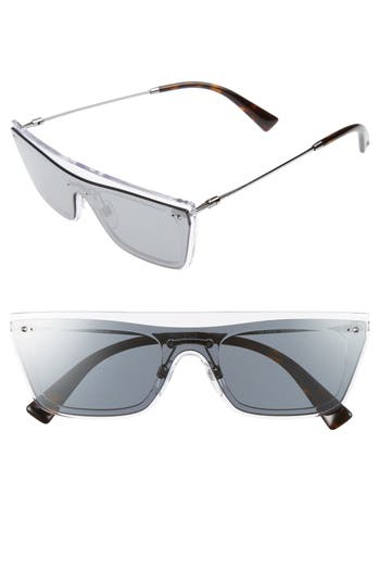 Valentino Rockstud 50Mm Rectangular Sunglasses - Mirror Black
