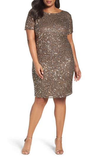 Plus Size Pisarro Nights Embellished Cocktail Dress, Brown