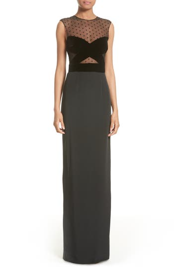 Monique Lhuillier Illusion Bodice Column Gown