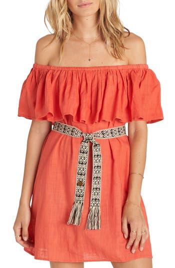 Billabong Mi Bonita Off The Shoulder Ruffle Dress, Red