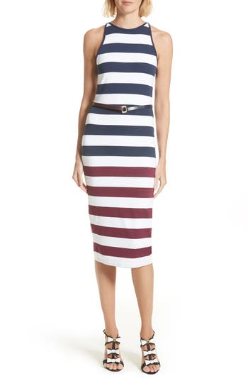 Ted Baker London Yuni Stripe Body-Con Dress, Blue