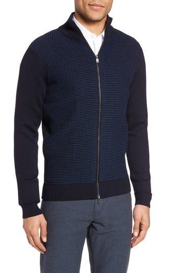 Boss Bacco Full Zip Wool Sweater Jacket, Blue