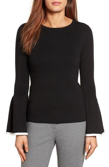 Women's Halogen Flare Sleeve Sweater, Size Large - Black