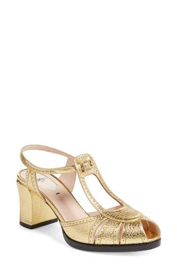 Women's Fendi Chameleon Leather Sandal, Size 8US / 38.5EU - Metallic