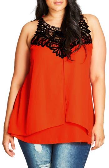 Plus Size Women's City Chic Chiffon Top, Size Small - Orange