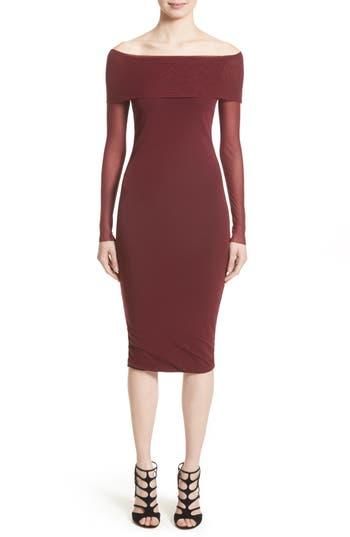 Fuzzi Tulle Off The Shoulder Midi Dress, Burgundy