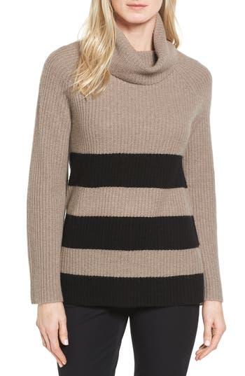 Petite Women's Halogen Ribbed Cashmere Turtleneck Sweater