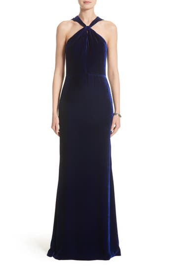 St. John Evening Draped Front Velvet Gown, Blue