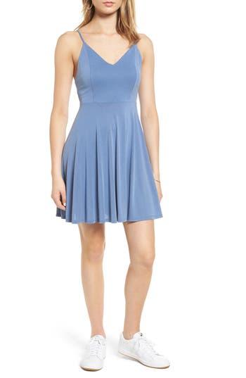 Soprano Cross Back Fit & Flare Dress, Blue