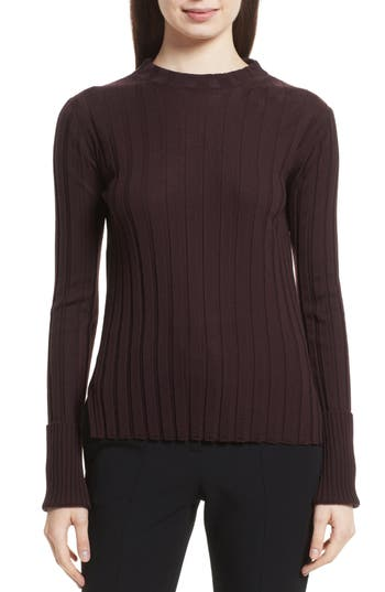 Theory Wide Ribbed Mock Neck Wool Sweater, Size Petite - Brown