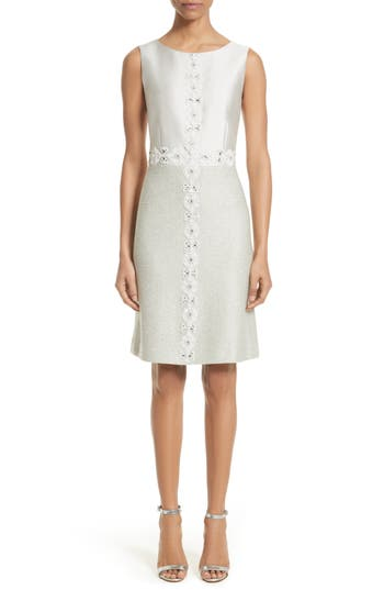 St. John Collection Jasmine Embellished A-Line Dress, Grey