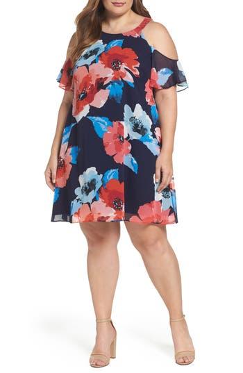 Plus Size Vince Camuto Cold Shoulder Floral A-Line Dress
