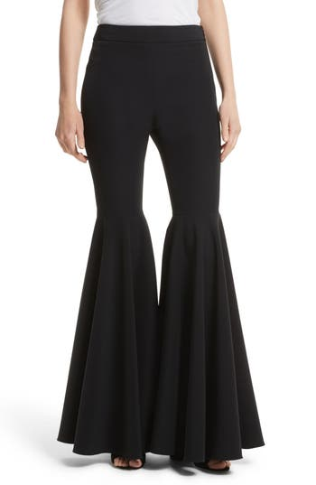 Milly Flare Leg Cady Pants, Black