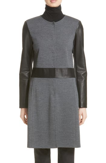 St. John Collection Leather & Milano Knit Topper, Grey