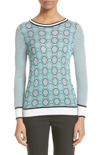 Women's St. John Collection Geo Jacquard Stripe Sweater, Size Petite - Blue/green