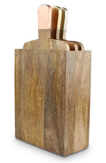 Thirstystone Set Of 3 Mango Wood Serving Boards & Holder