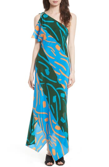 Diane Von Furstenberg Silk Maxi Dress, Blue/green