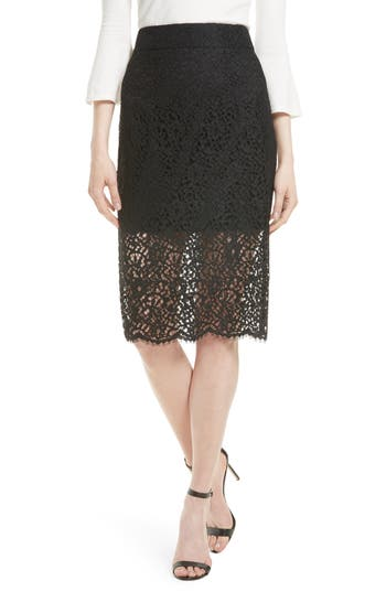 Women's Milly Lace Classic Pencil Skirt, Size 0 - Black