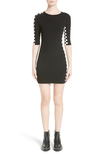 Alexander Wang Intarsia Check Knit Dress, Black