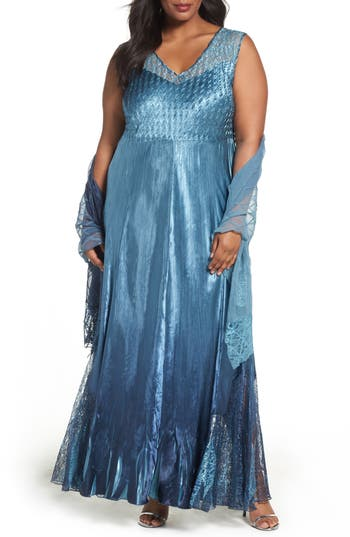 Plus Size Komarov Lace-Up Back Gown With Shawl, Blue
