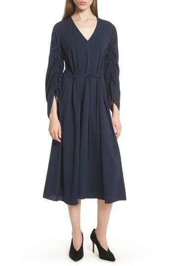 Tibi Convertible Sleeve Midi Dress, Blue